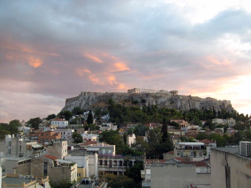 Acropolis at sunset, from the hotel terrace