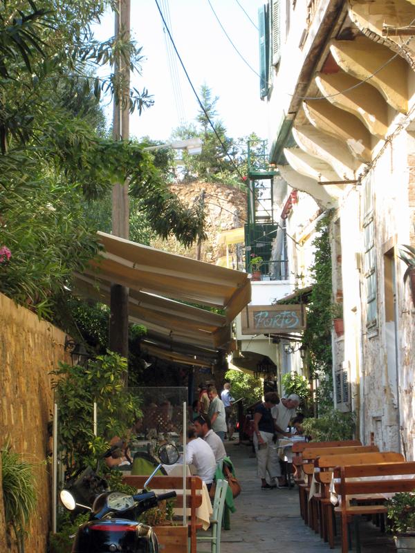 The Pórtes restaurant, inside the old city walls