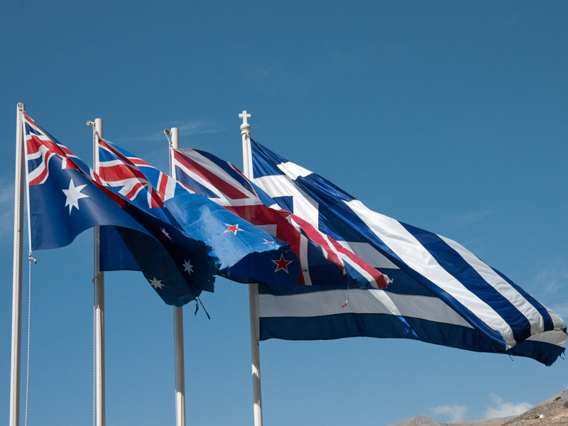 Flags: Australia, New Zealand, Great Britain, Greece