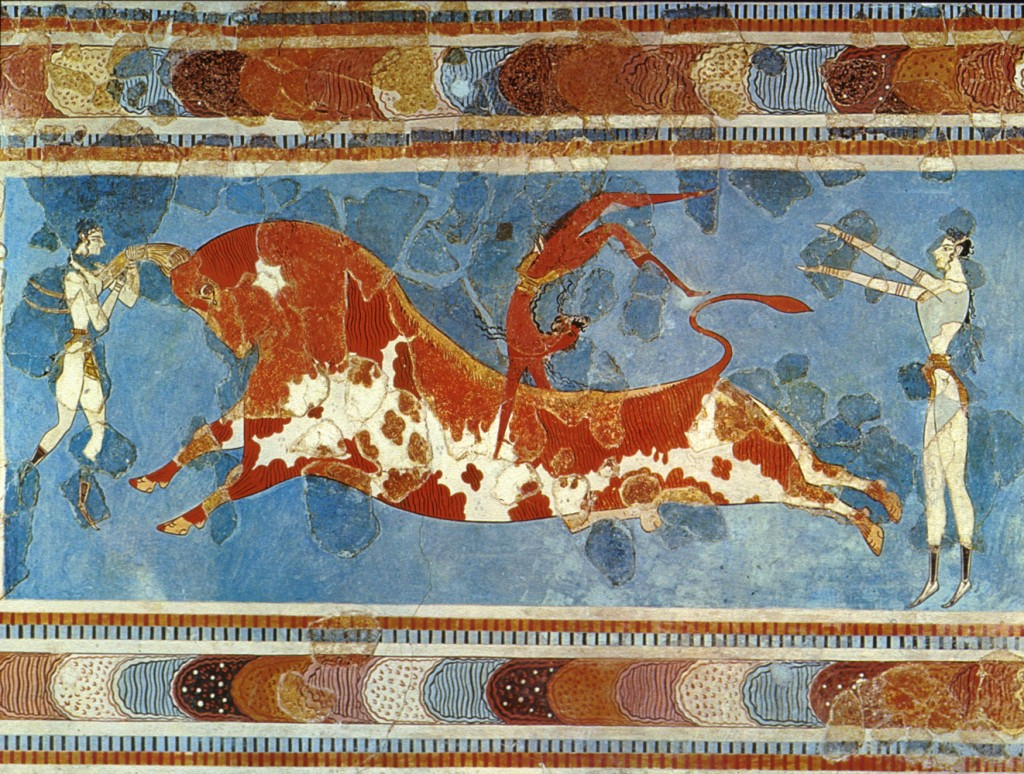 Bull-leaping in a fresco from Knossós