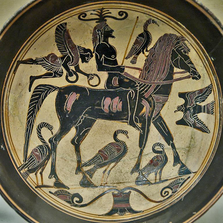 Spartan plate with mounted warrior, early classical period