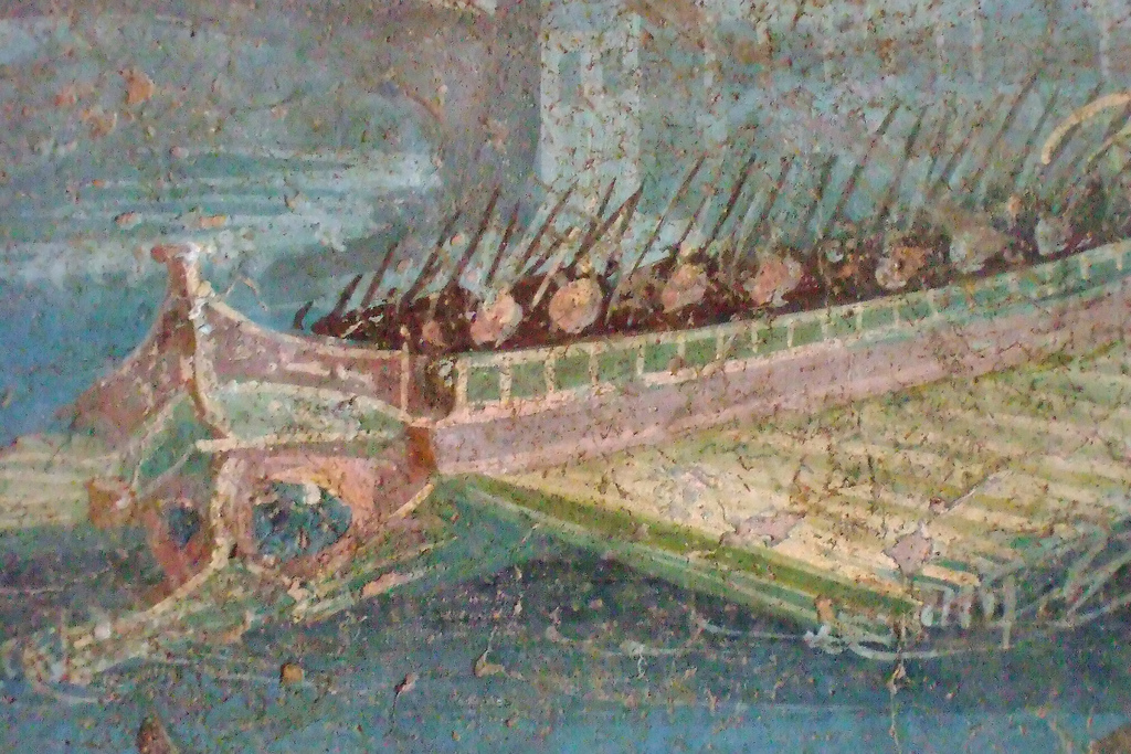 Roman warship with troops (wall painting in Pompeii: photographer Mary Harrsch)