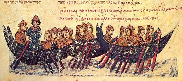 Arab fleet descending on Crete (12th-century Greek MS)