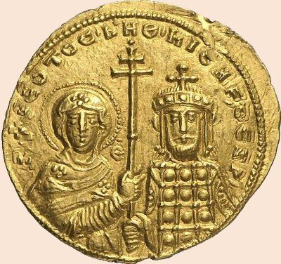 Nikephóros as emperor, with the Virgin Mary on a coin