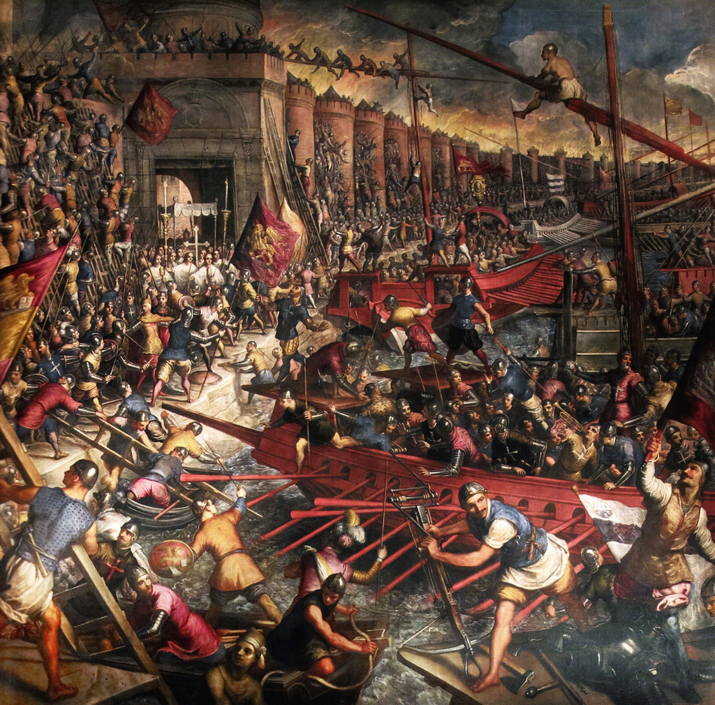 Final assault on Constantinople, 1204 (painted by Tintoretto, 16th c.)
