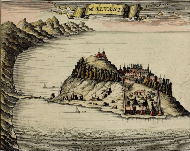 Port city of Malvasia (Greek Monemvasía), from map published1680