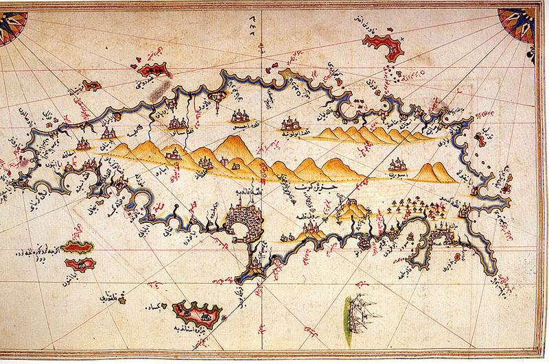 Turkish map of Crete by Piri Reis (1520s)