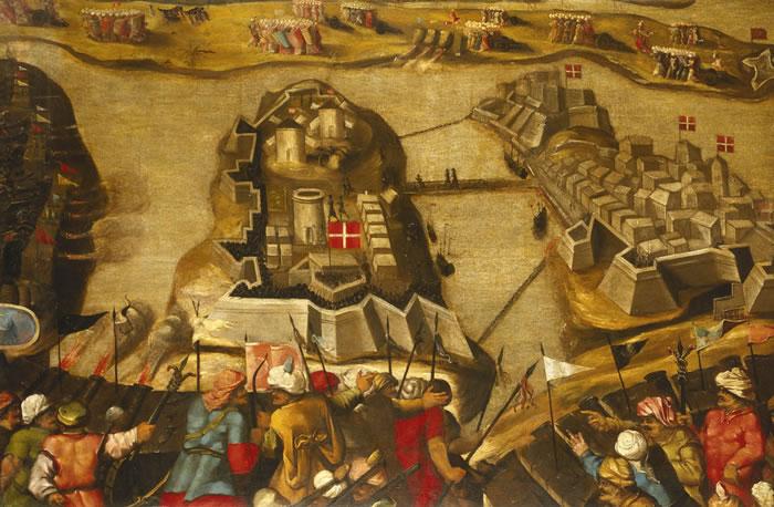 The Turks besiege Malta, 1565 (by Matteo Perez d'Aleccio)