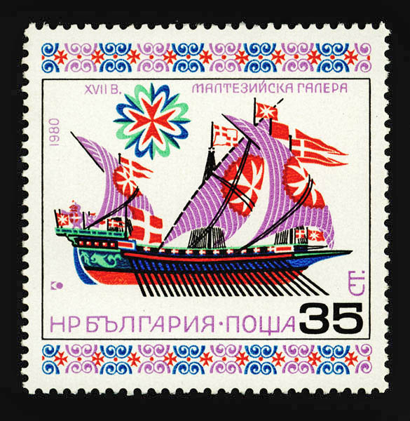 Maltese galley (Bulgarian postage stamp by Stefan Kanchev)