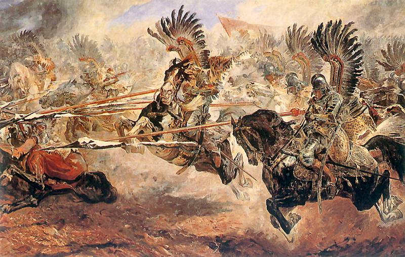 Polish hussars charging the Turks at Vienna, 1683