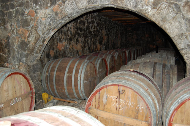 Barrels full of Cretan wine