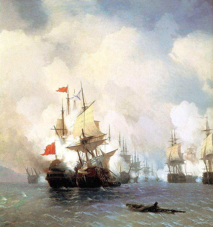 Orlov defeats the Ottoman fleet off Chios