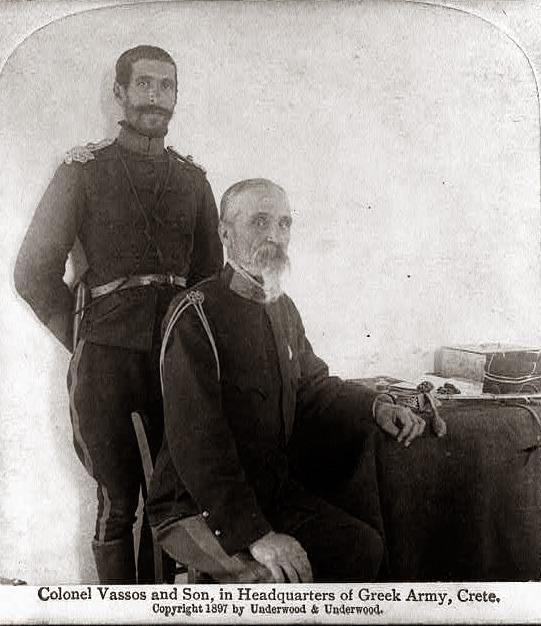 Col. Timoléon Vássos, the Greek Army's Man in Crete, with his son