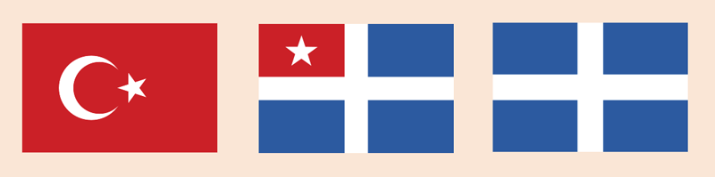Flags: Ottoman, Cretan State, Greek Kingdom