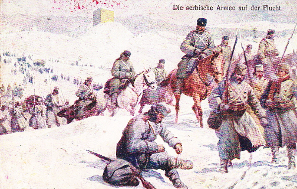 Austrian postcard picture of the Serbian army retreating through Albania
