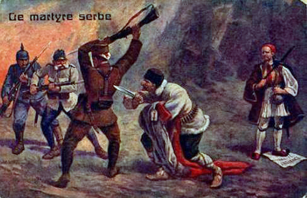 Italian propaganda cartoon of the betrayal of Serbia