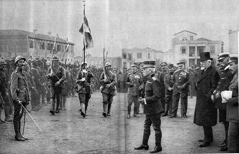 Colors are presented to newly recruited Greek regiments in Salonika as the Triumvirate looks on, December 1916