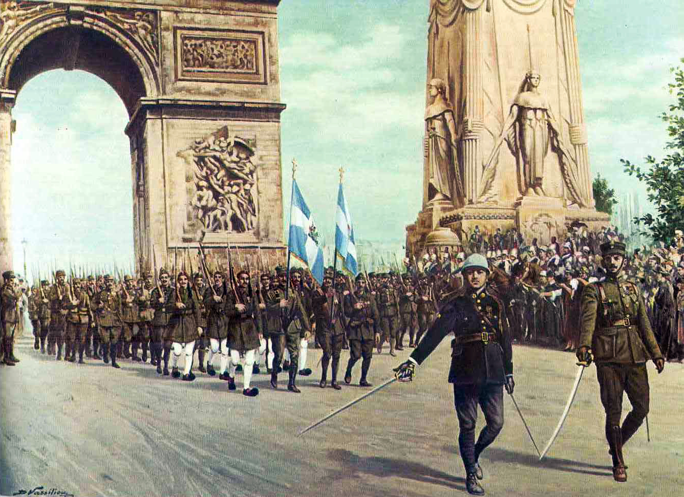 Greek soldiers on parade in Paris, 1919