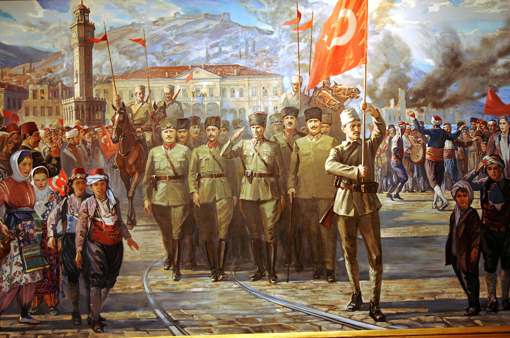 Turkish print of the army entering Izmir, September 1922