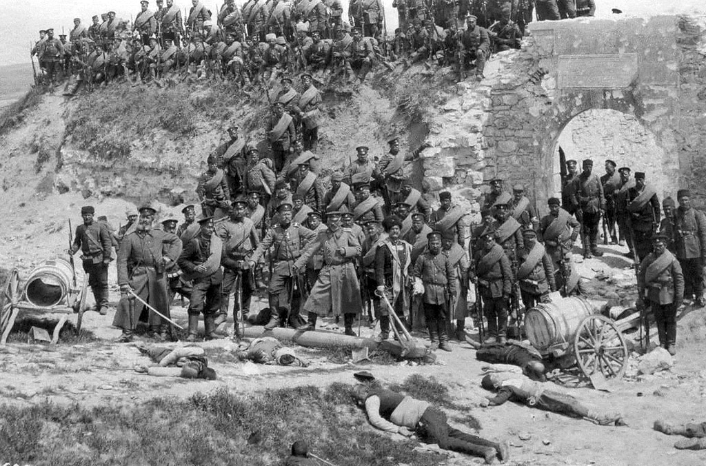 Bulgarian soldiers after taking a fort outside Adrianople