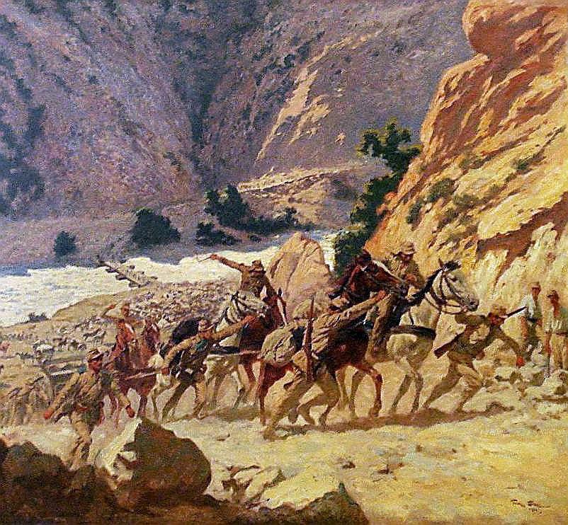 Greek artillery in the Kresna Gorge