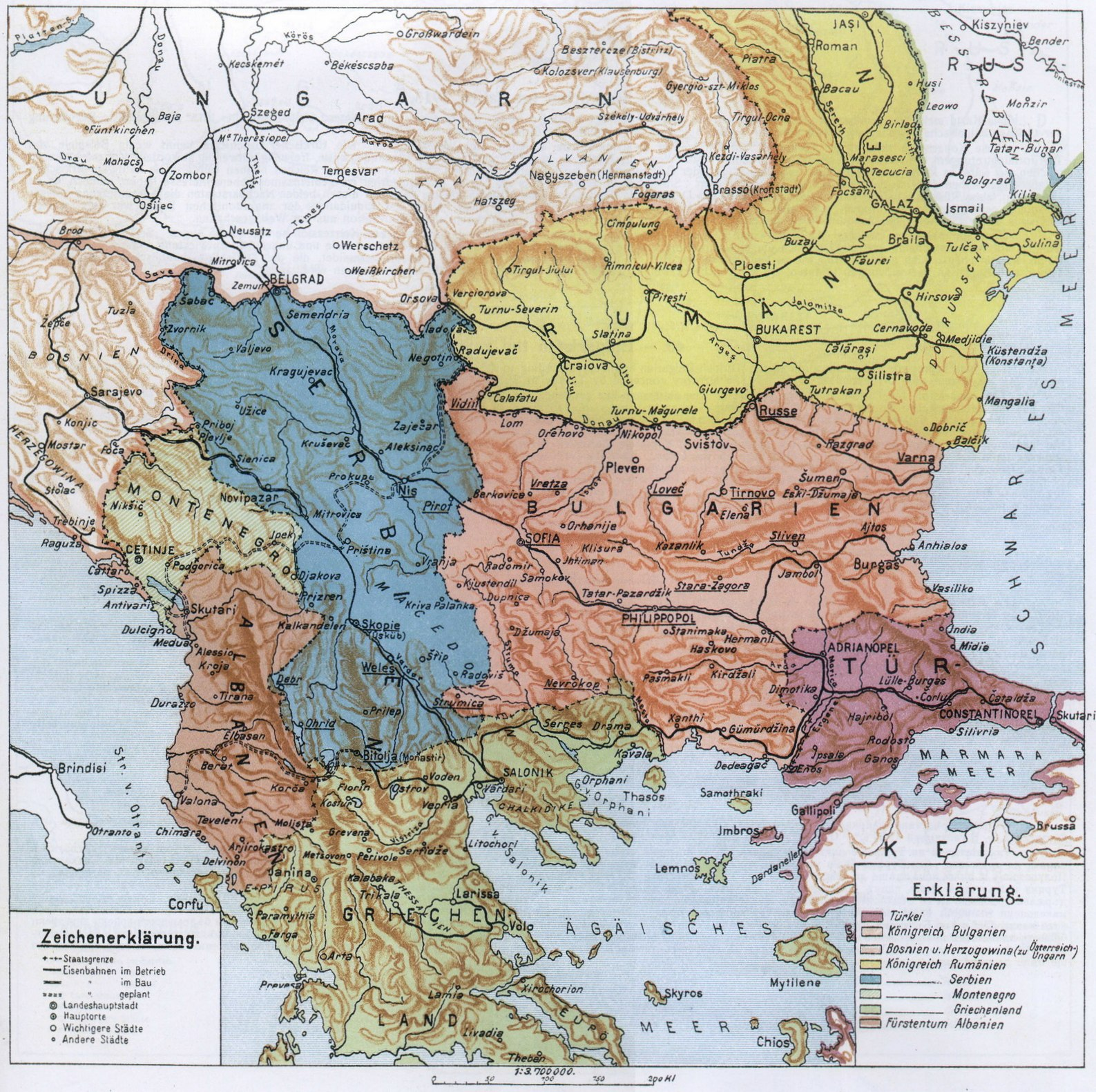 The map as changed by the Balkan wars