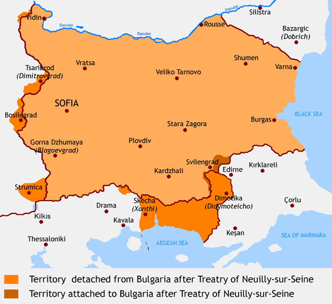 Changes in Bulgaria's borders after World War I