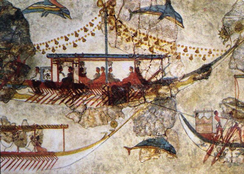 Minoan ships in a bronze-age fresco