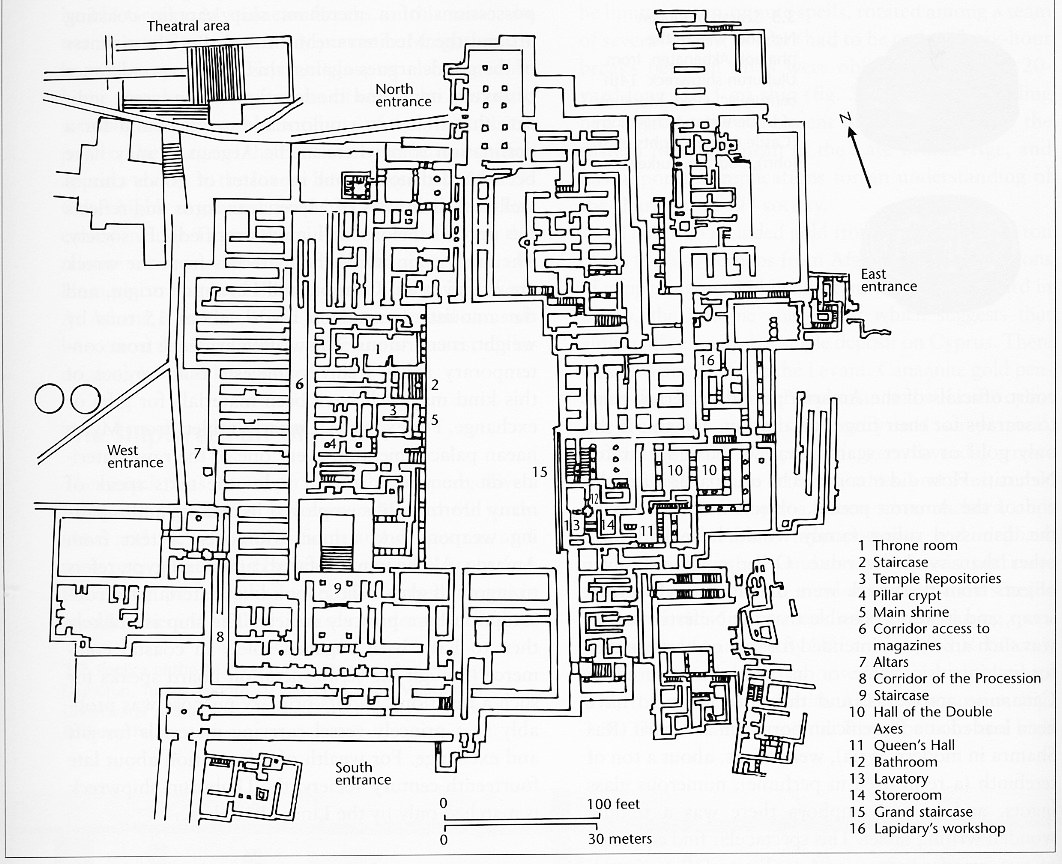 Ground floor plan of the Knossos site