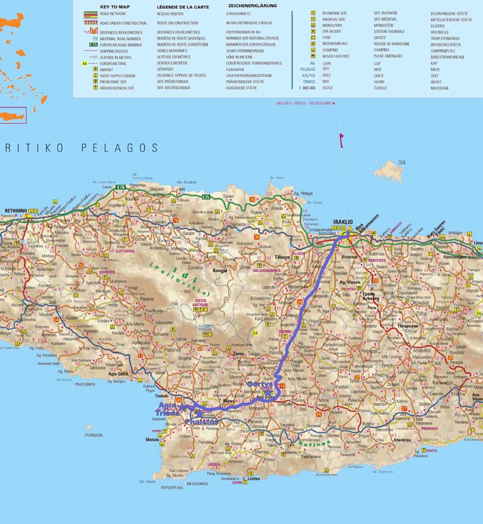 Map: Iráklio-Górtys-Phaistós-Agía Triáda