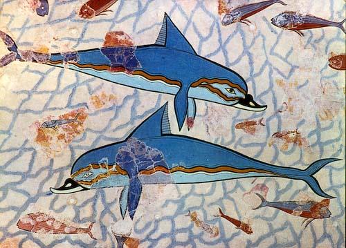 Detail of the dolphin fresco