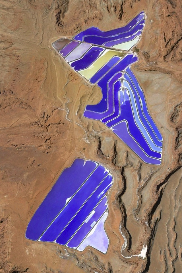 Satellite view of the evaporation ponds